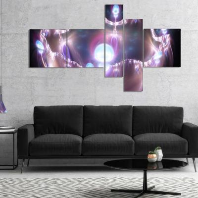 Designart 3D Surreal Purple Illustration Multipanel Abstract Canvas Art Print - 5 Panels