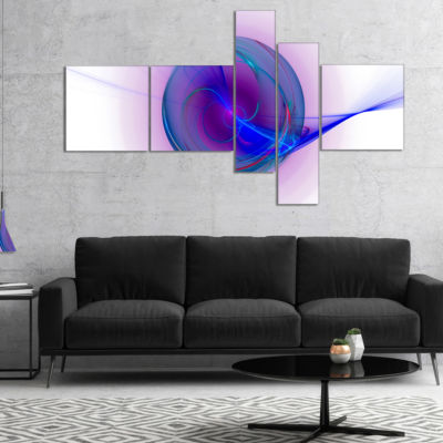 Designart Abstract Blue Fractal Design MultipanelAbstract Canvas Art Print - 5 Panels