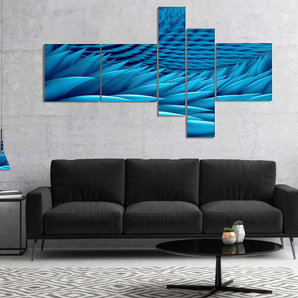 Designart Abstract Blue Wavy Background MultipanelAbstract Canvas Art Print - 4 Panels