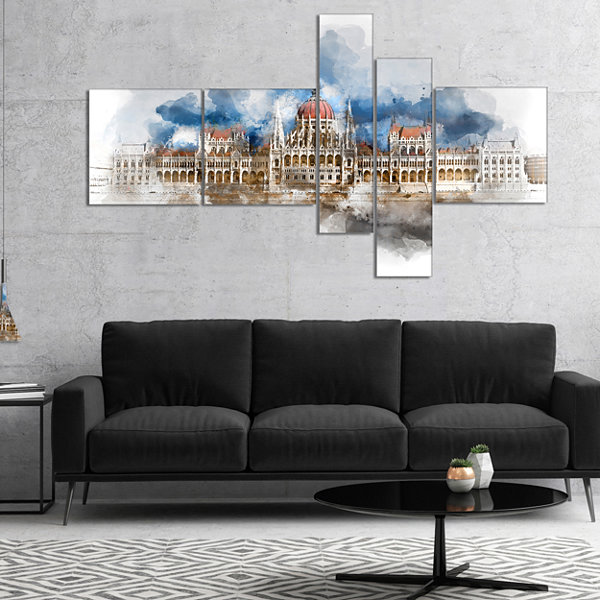 Designart Hungarian Parliament Building MultipanelExtra Large Canvas Art Print - 5 Panels