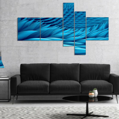 Designart Abstract Blue Wavy Background MultipanelAbstract Canvas Art Print - 5 Panels