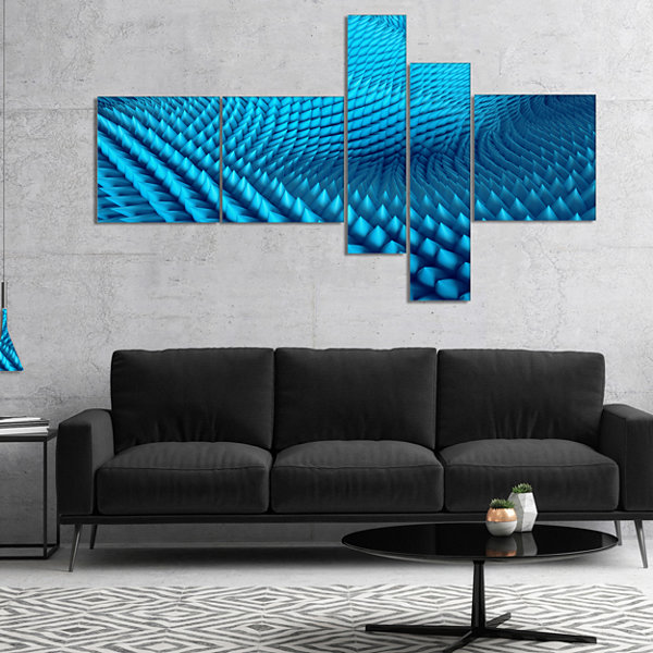 Designart Abstract Blue Wavy Background MultipanelAbstract Canvas Wall Art - 4 Panels