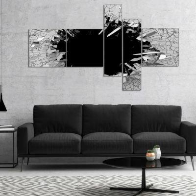 Designart Abstract Broken Wall 3D Design Multipanel Abstract Canvas Wall Art - 5 Panels