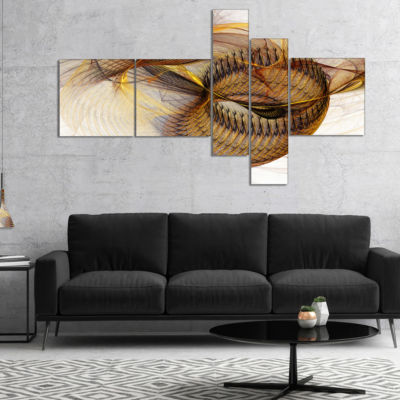 Designart Abstract Brown Spiral Texture MultipanelAbstract Wall Art Canvas - 4 Panels