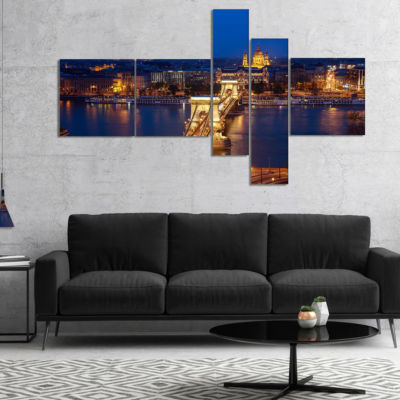 Designart Illuminated Cain Bridge Budapest Multipanel Cityscape Canvas Art Print - 5 Panels