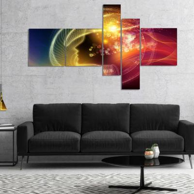 Designart Illuminating Human Head Fractal Multipanel Abstract Canvas Wall Art Print - 4 Panels