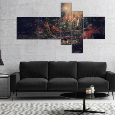 Designart Abstract Collage Art Multipanel AbstractCanvas Art Print - 5 Panels