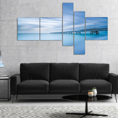 Designart Industrial Pier In The Sea Multipanel Seascape Canvas Art Print - 4 Panels