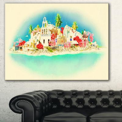 Designart Santorini Panoramic View Cityscape Watercolor Canvas Print - 3 Panels