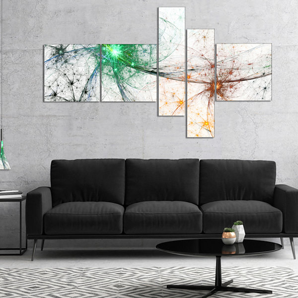 Designart Abstract Colorful Fireworks MultipanelAbstract Canvas Art Print - 5 Panels