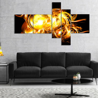 Designart Abstract Fractal Fire On Black Multipanel Large Abstract Canvas Wall Art - 5 Panels
