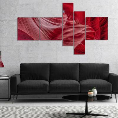 Designart Inside Wall Of Antelope Canyon Multipanel Landscape Photography Canvas Print - 5 Panels