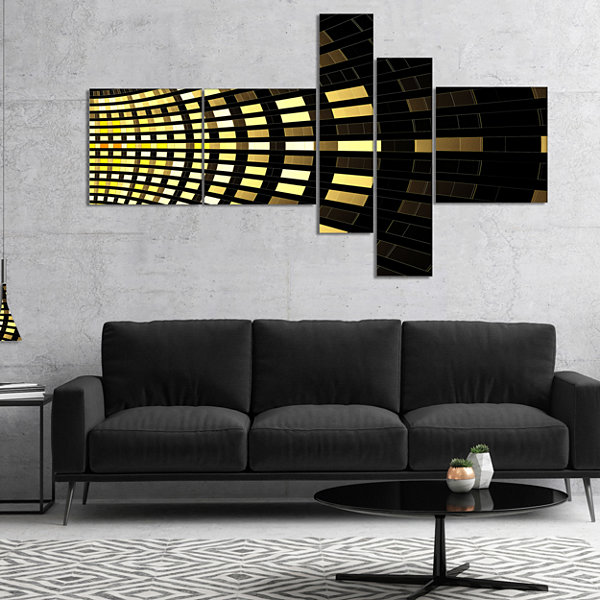 Designart Abstract Fractal Gold Square Pixel Multipanel Abstract Art On Canvas - 4 Panels