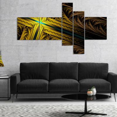 Designart Intricate Multi Colored Cross MultipanelAbstract Print On Canvas - 4 Panels