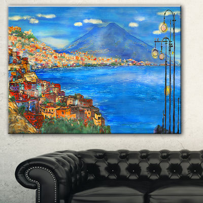Designart Saturday Night Sea Landscape Painting Canvas Print - 3 Panels