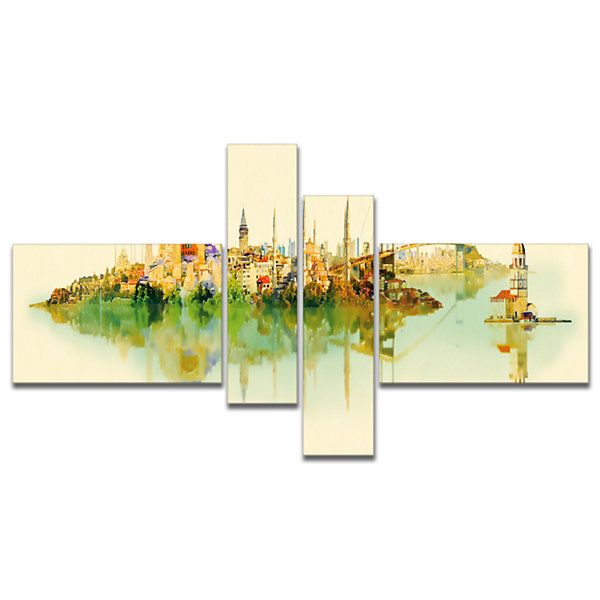 Designart Istanbul Panoramic View Multipanel Cityscape Watercolor Canvas Print - 4 Panels