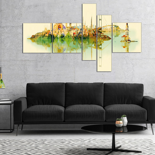 Designart Istanbul Panoramic View Multipanel Cityscape Watercolor Canvas Print - 5 Panels