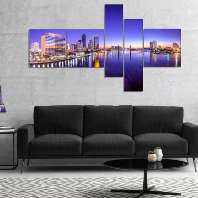 Designart Jacksonville Florida City Cityscape Multipanel Photography Canvas Art Print - 4 Panels