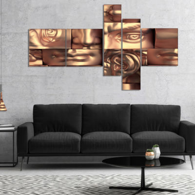 Designart Abstract Golden Blocks Multipanel Abstract Canvas Art Print - 4 Panels