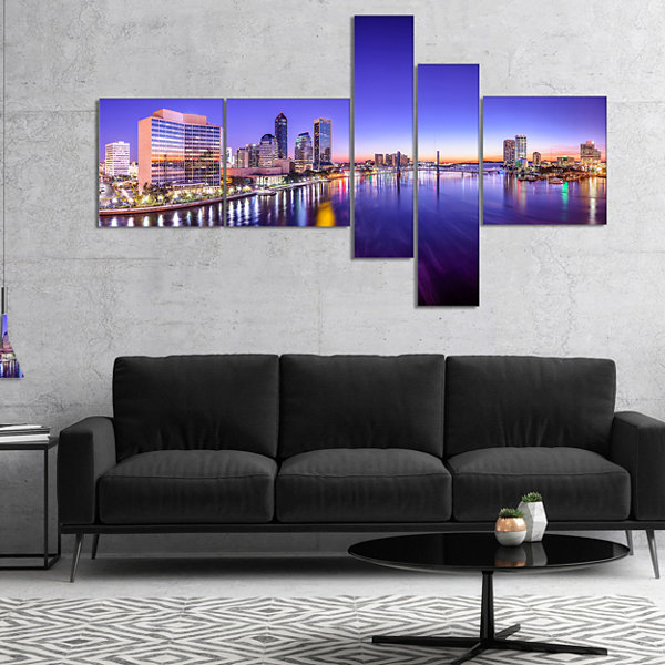 Designart Jacksonville Florida City Cityscape Multipanel Photography Canvas Art Print - 5 Panels