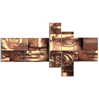 Designart Abstract Golden Blocks Multipanel Abstract Canvas Art Print - 5 Panels