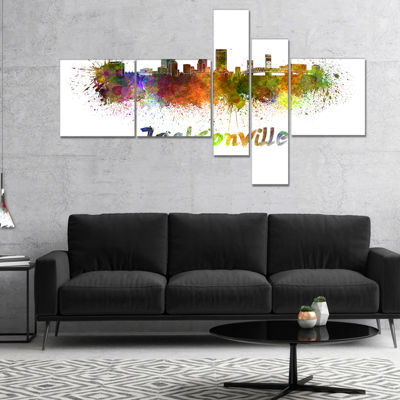Designart Jacksonville Skyline Multipanel Cityscape Canvas Art Print - 4 Panels
