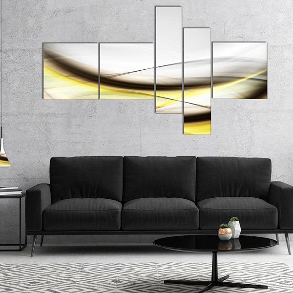 Designart Abstract Golden Waves Multipanel Abstract Canvas Art Print - 4 Panels