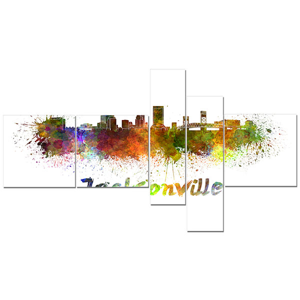 Designart Jacksonville Skyline Multipanel Cityscape Canvas Art Print - 5 Panels