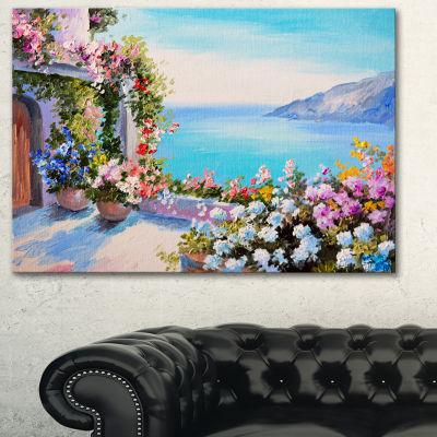 Designart Sea And Flowers Landscape Art Print Canvas - 3 Panels