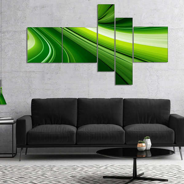 Designart Abstract Green Lines Background Multipanel Abstract Canvas Art Print - 4 Panels