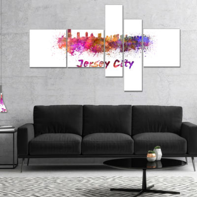 Designart Jersey City Skyline Multipanel CityscapeCanvas Artwork Print - 5 Panels