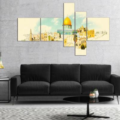 Designart Jerusalem Panoramic View Multipanel Cityscape Watercolor Canvas Print - 4 Panels