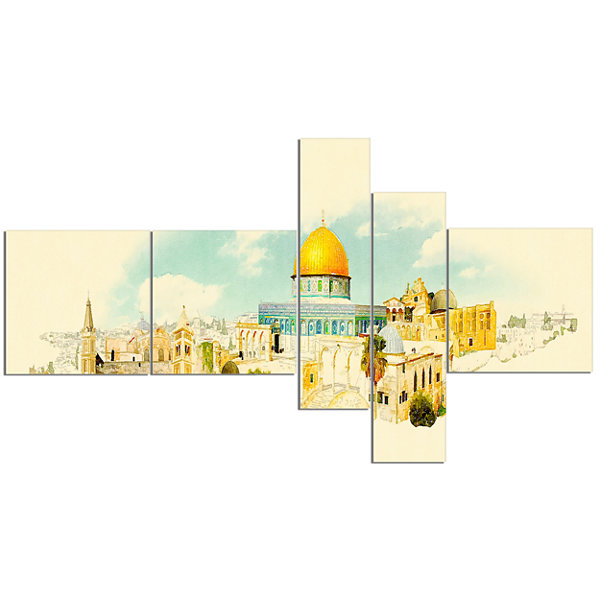 Designart Jerusalem Panoramic View Multipanel Cityscape Watercolor Canvas Print - 5 Panels