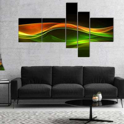 Designart Abstract Green Yellow In Black Multipanel Abstract Canvas Art Print - 5 Panels