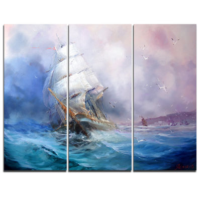 Designart Sea Breeze Seascape Canvas Art Print -3Panels