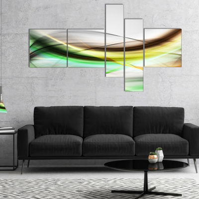 Designart Abstract Green Yellow Waves MultipanelAbstract Canvas Art Print - 4 Panels