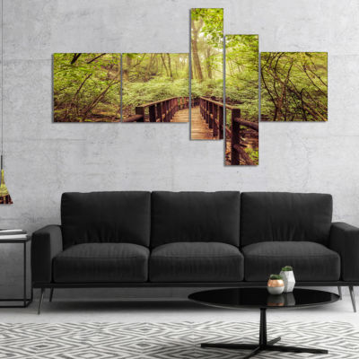 Designart Jungle In Vintage Style Multipanel Landscape Photography Canvas Print - 4 Panels
