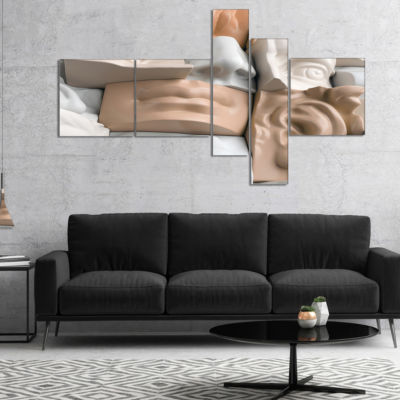 Designart Abstract Mannequin Blocks Multipanel Abstract Canvas Art Print - 5 Panels