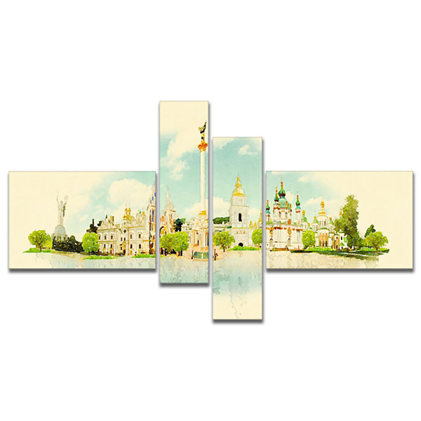 Designart Kiev Panoramic View Multipanel CityscapeWatercolor Canvas Print - 4 Panels