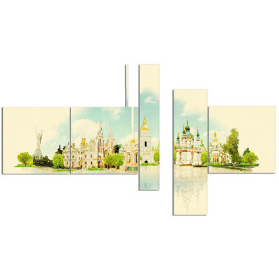 Designart Kiev Panoramic View Multipanel CityscapeWatercolor Canvas Print - 5 Panels