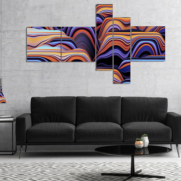 Designart Abstract Mountains 3D Texture MultipanelAbstract Canvas Art Print - 4 Panels