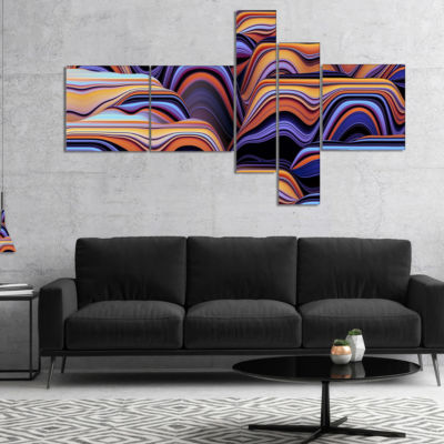 Designart Abstract Mountains 3D Texture MultipanelAbstract Canvas Art Print - 5 Panels
