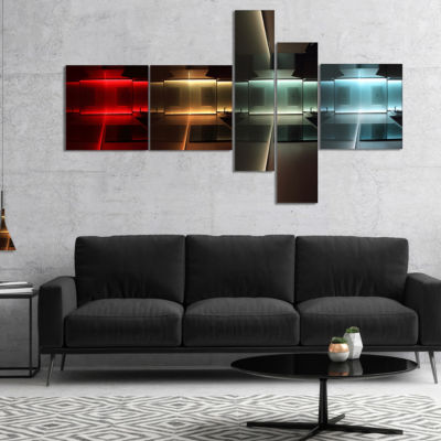 Designart Kitchen With Led Lighting Multipanel Abstract Canvas Art Print - 4 Panels