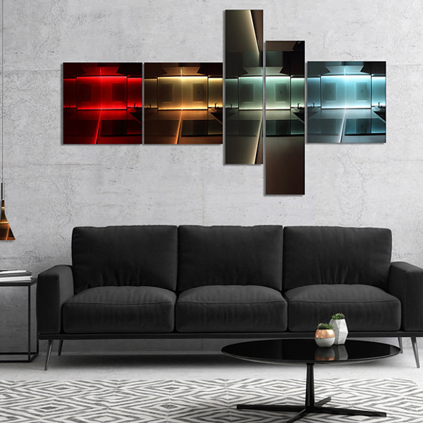 Designart Kitchen With Led Lighting Multipanel Abstract Canvas Art Print - 5 Panels