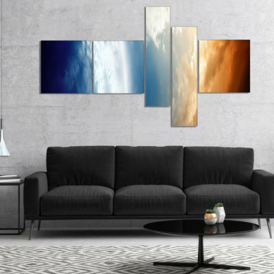 Designart Abstract Planet In Space Multipanel Spacescape Canvas Art Print - 4 Panels