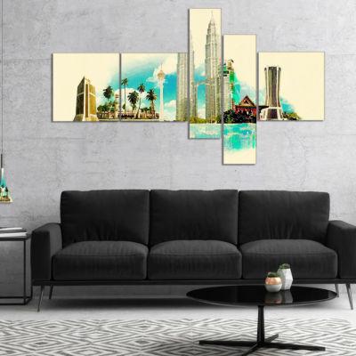 Designart Kuala Lumpur Panoramic View MultipanelCityscape Watercolor Canvas Print - 4 Panels