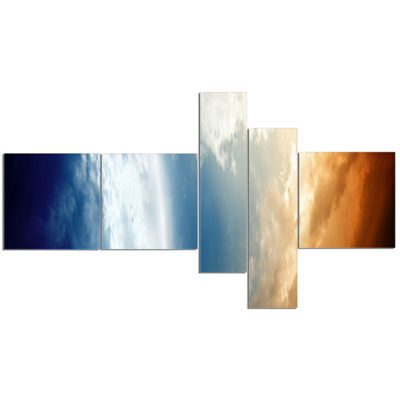 Designart Abstract Planet In Space Multipanel Spacescape Canvas Art Print - 5 Panels