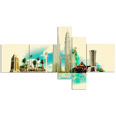 Designart Kuala Lumpur Panoramic View MultipanelCityscape Watercolor Canvas Print - 5 Panels