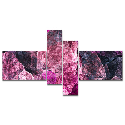 Designart Abstract Purple Fractal Illustration Multipanel Abstract Wall Art Canvas - 4 Panels
