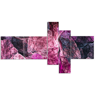 Designart Abstract Purple Fractal Illustration Multipanel Abstract Wall Art Canvas - 5 Panels